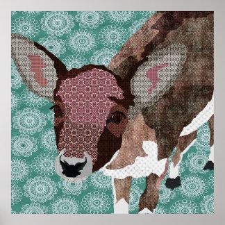 Poster floral da arte da jovem corça