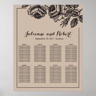 Poster floral da carta do assento do casamento dos