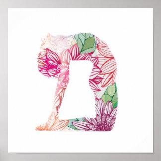 Poster floral da ioga pôster