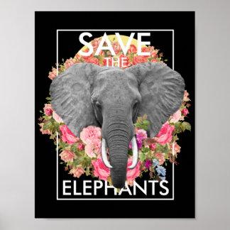 poster floral do elefante