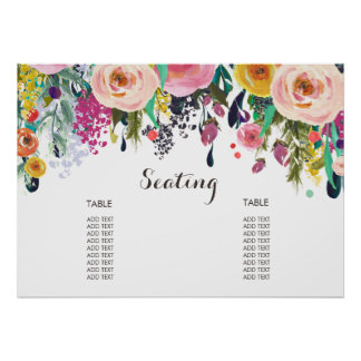 Poster floral pintado da carta do assento