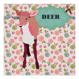 Poster floral retro dos cervos cor-de-rosa bonito