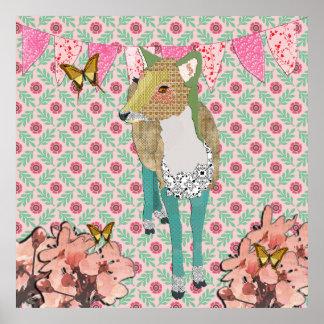 Poster floral retro dos cervos enfadados