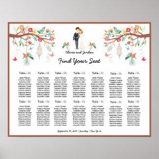 Poster floral romântico da carta do assento do