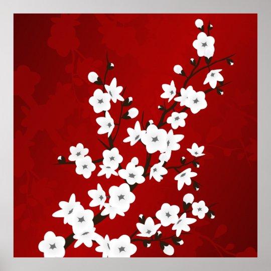 Poster Flores de cerejeira preto e branco vermelhas