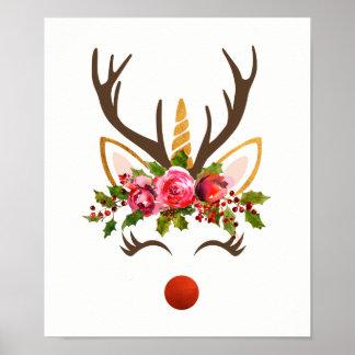 Pôster Flores do Antler/Natal da rena do unicórnio