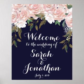 Poster Flores do rosa do sinal de boas-vindas do