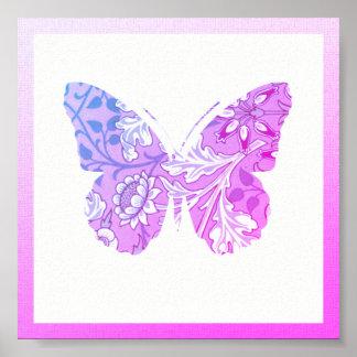 Poster florido roxo da borboleta