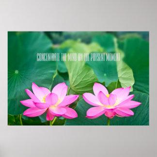 Poster Folha cor-de-rosa do verde da lagoa dos pares da