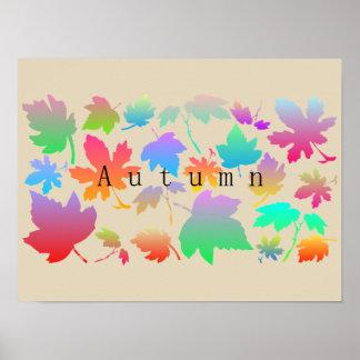 Pôster Folhas de outono coloridas