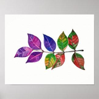 Pôster Folhas do arco-íris da aguarela