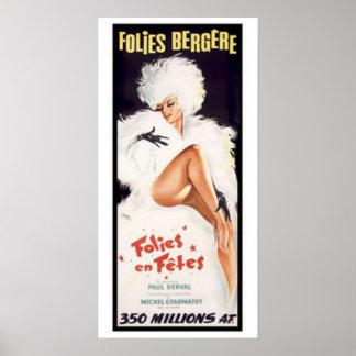 Poster Folies-Bergere, teatro de dança da taberna