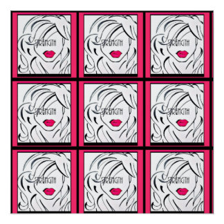 Pôster Força, arte da parede da mulher cor-de-rosa