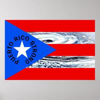 Poster forte do furacão da bandeira de Puerto Rico