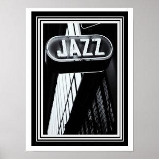Poster Foto 12 x 16 do jazz do vintage B&W