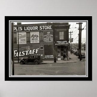 Poster Foto preta & branca 12 x 16 do vintage da loja de