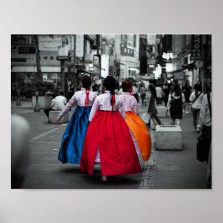 Pôster fotografia coreana da menina do tradional