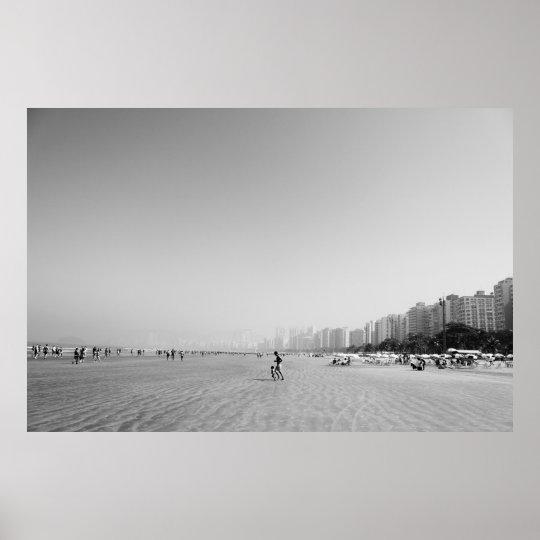 Pôster Fotografia Pai e Filho na Praia - Preto e Branco