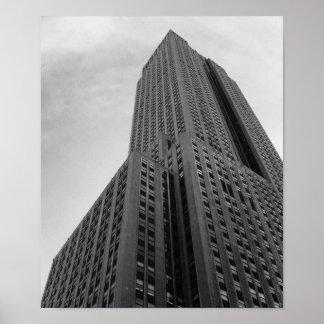 Poster Fotografia preto e branco do arranha-céus de NYC