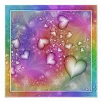 Pôster Fractal do amor do arco-íris