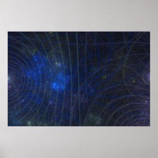 Pôster fractle azul do mapa
