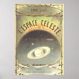 Poster francês do espaço do vintage pôster