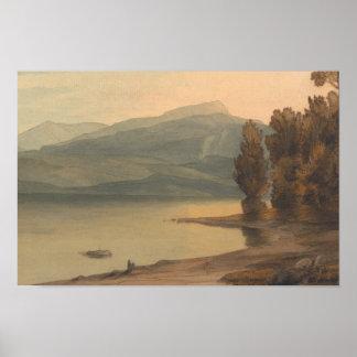 Poster Francis Towne - Windermere no por do sol