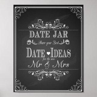 Poster Frasco da data do sinal do casamento