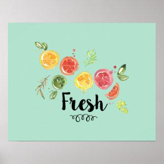 Poster Fresco - citrinas na aguarela