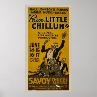 Poster Funcione pouco teatro 1940 do vintage de Chillun