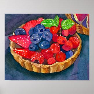 Pôster Galdéria da fruta do francês, aguarela auxiliar