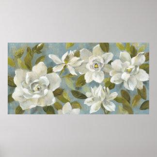 Poster Gardenias no azul da ardósia