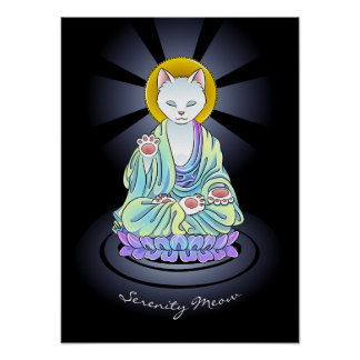 Pôster Gato do Meow da serenidade do budista de zen