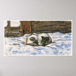 Poster Gato que dorme em uma cama por Claude Monet