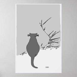 Poster Gato que senta-se na jarda