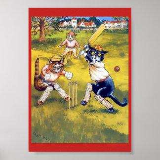 Poster Gatos do vintage que jogam o grilo