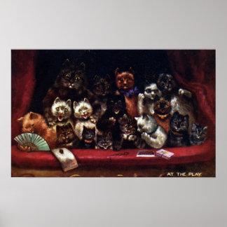 Poster Gatos no teatro para um jogo Louis Wain