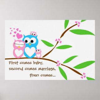 Poster gêmeo das corujas do bebé com texto