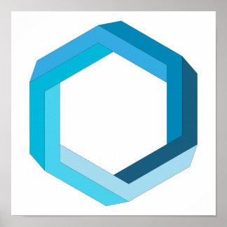 Pôster Geometria impossível: Hexágono azul
