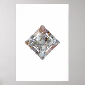 Poster geométrico de mármore do espaço pôster