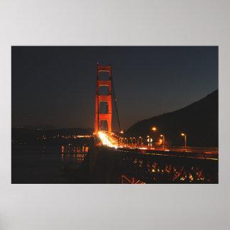 Poster Golden gate bridge na noite