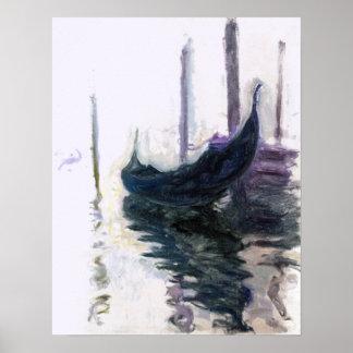 Pôster Gôndola de Claude Monet em Veneza