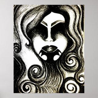Poster gótico abstrato da arte da senhora do pôster