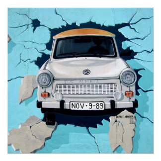 Pôster grafites no muro de Berlim