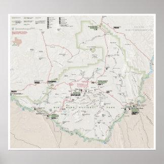 Poster grande do mapa da curvatura (Texas)