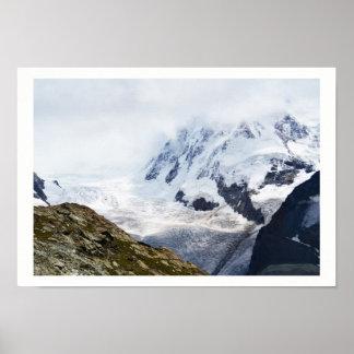 Poster Grande geleira nos cumes suíços