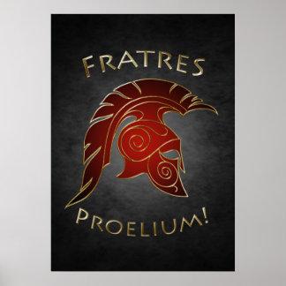 Poster grego do vermelho do guerreiro da batalha e