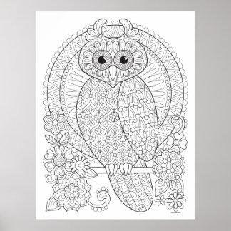 Poster Groovy da coloração da coruja - arte