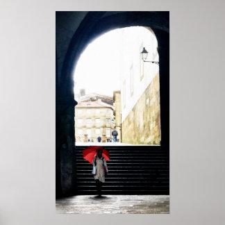Poster Guarda-chuva vermelho em um arco espanhol 2