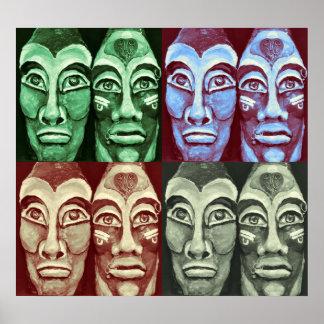 Pôster Guerreiros maias - trabalhos de arte pintados